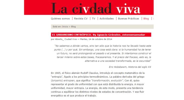 LA CIUDAD VIVA IGNACIO GRAVALOS URBANISMO ENTROPICO